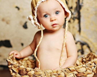 Butterscotch Soft Gold Munchkin Pixie Elf Fairy Hobbit Knit Baby Hat Cap Any Color Size New Baby Gift or Photo Prop