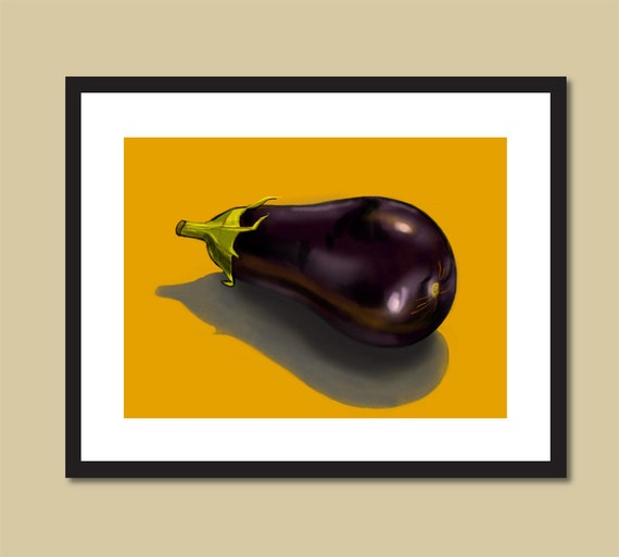 eggplant kitchen accessories eggplant painting vegetable gift for cook or chef 3534