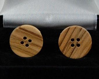 cufflinks:  Olive Wood, round flat style