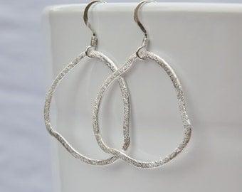 Sterling Silver Organic Hoop Earrings - Freeform Textured Silver Hoops - Sterling Silver Earrings