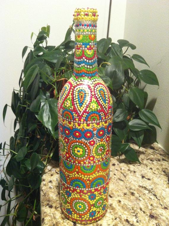 Hand Painted Wine Bottle Dot Art