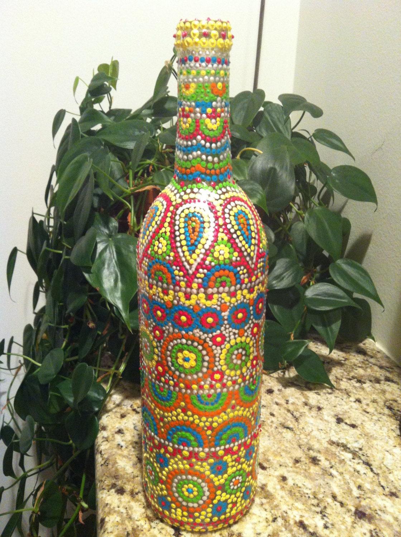 Hand painted wine bottle dot art for Painted wine bottles