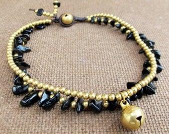 Onyx Ankle Bracelet - Double Strands Onyx Stone Brass Bead added Bell Charm