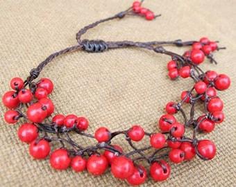 Cluster Red Coral Beaded Bracelet