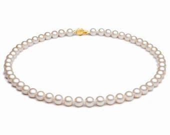 White Akoya Pearl Necklace - 7-7.50mm - 18Inch Necklace - 18KT Gold Necklace - Pearl Necklace - Necklace - Akoya Necklace