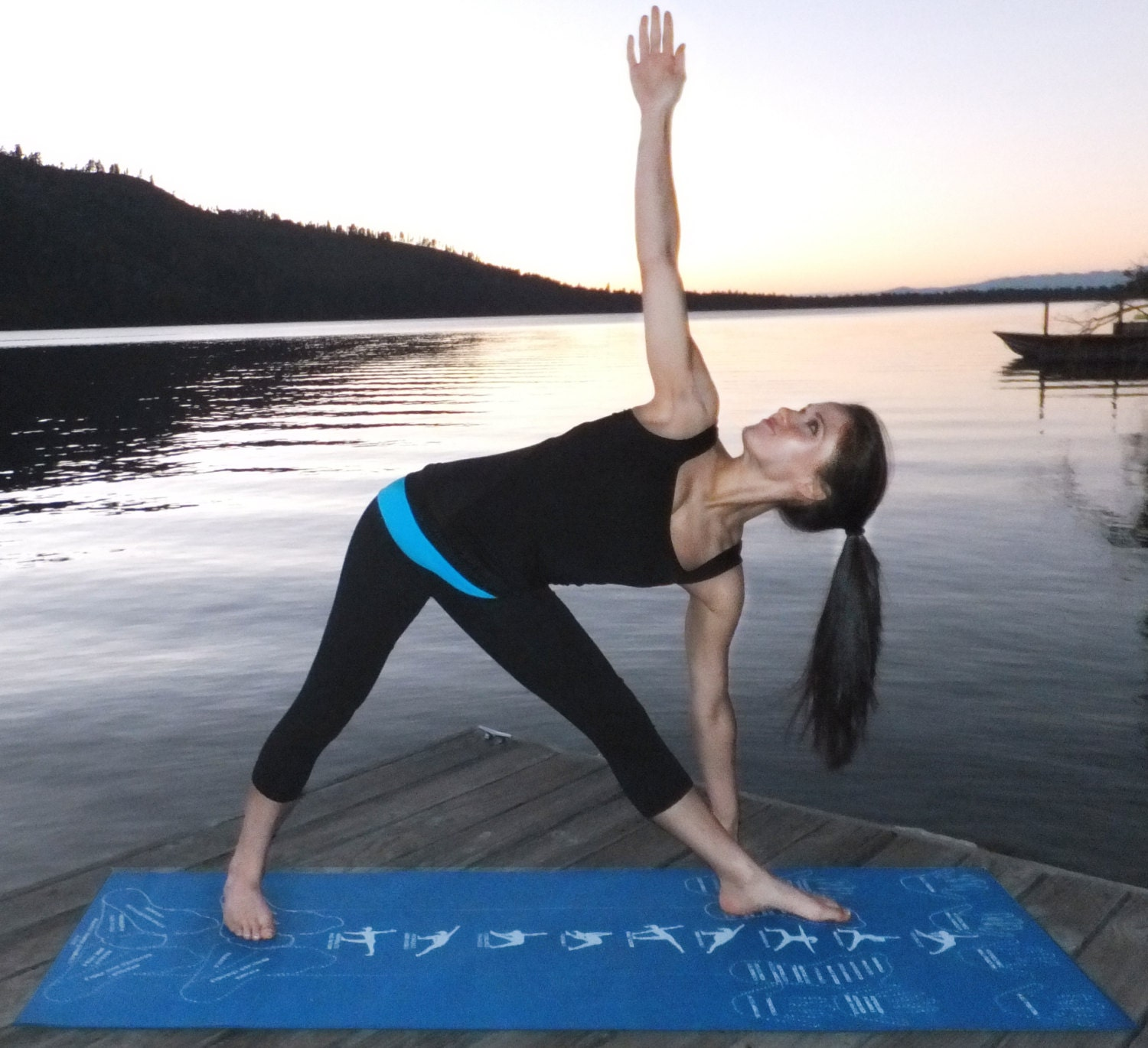 Instructional Yoga Mat / Alignment Yoga Mat With Hand And Foot