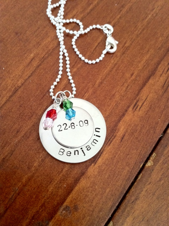 Hand Stamped Stainless Steel Necklace with Tiny Swarovski Crystals