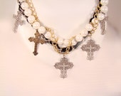 Necklace and Earring Set Choker Cross silver Pendants with Pearls and Leather Choker Gold Plated Gothic Chain necklace with dangle earring