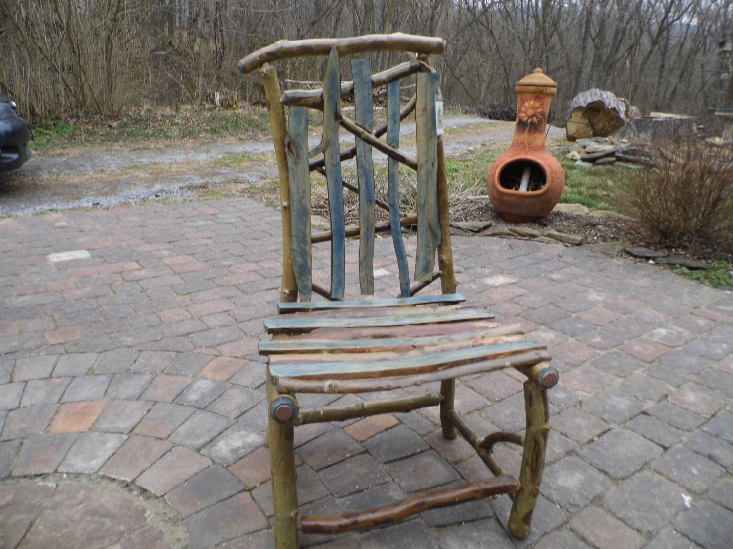 Items Similar To Rustic Cabin Porch Artistic Furniture Leany Chair Made From Sycamore Tree