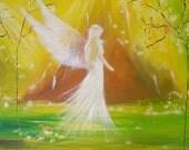 "Limited angel art photo ""at your side"", modern angel painting, artwork, acrylics, Engelbild, moderne Engel, Bild"