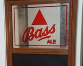 Vintage Bass Ale beer mirror with chalkboard - bar advertisement GREAT GIFT for mancave