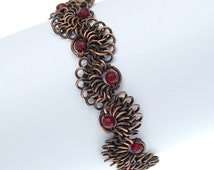 garnet bracelet / copper jewelry / chainmaille