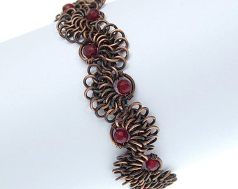 garnet bracelet / copper jewelry / chainmaille