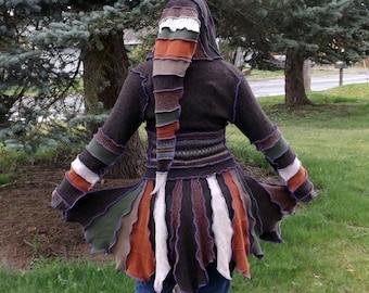 Custom Upcycled Sweater Pixie Coat - Wilderness