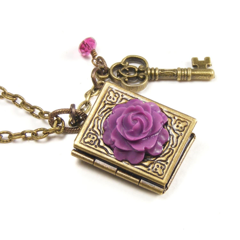 Brass Book Locket Pendant, Two Photo Book Locket, Vintage Style Purple Rose, Key Charm & Tourmaline Book Pendant