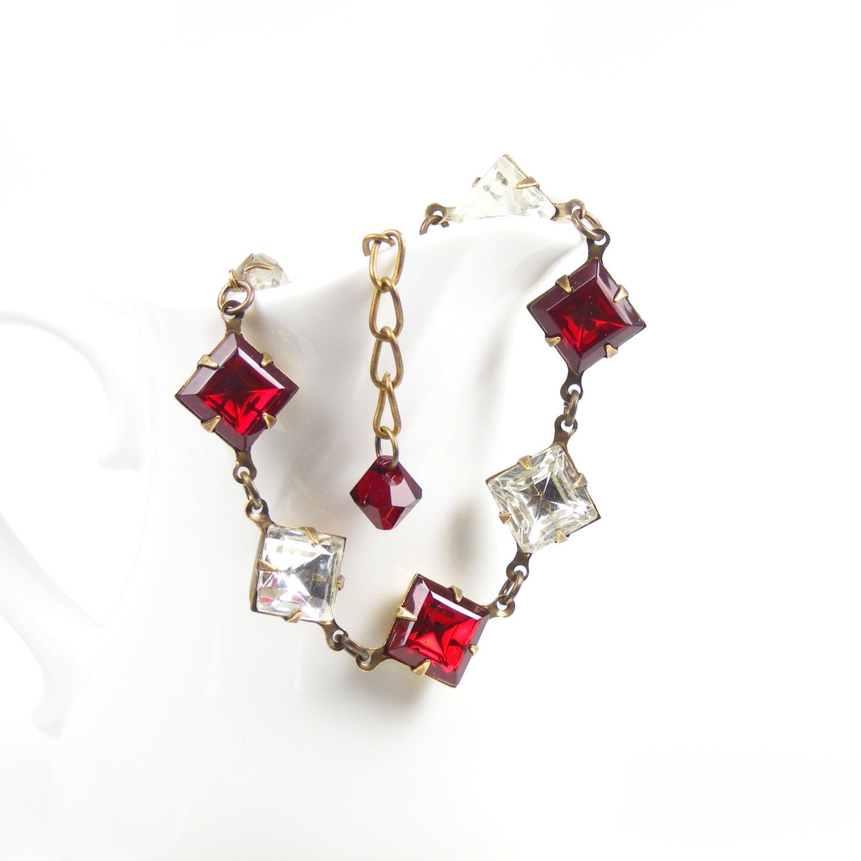 Red Bracelet, Handmade Vintage Style Red Bracelet, Gothic Inspired Bracelet, Scarlet Red & Clear Crystal