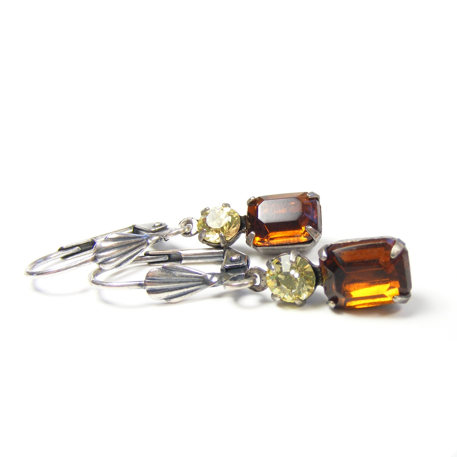 Vintage Rhinestone Earrings, Petite Drop Earrings, Downton Abbey Vintage Style Earrings, Dark Madeira Topaz & Jonquil Pale Yellow