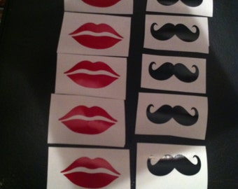 Pack of 12 2x1inch Lips & Mustache Vinyl Decal's