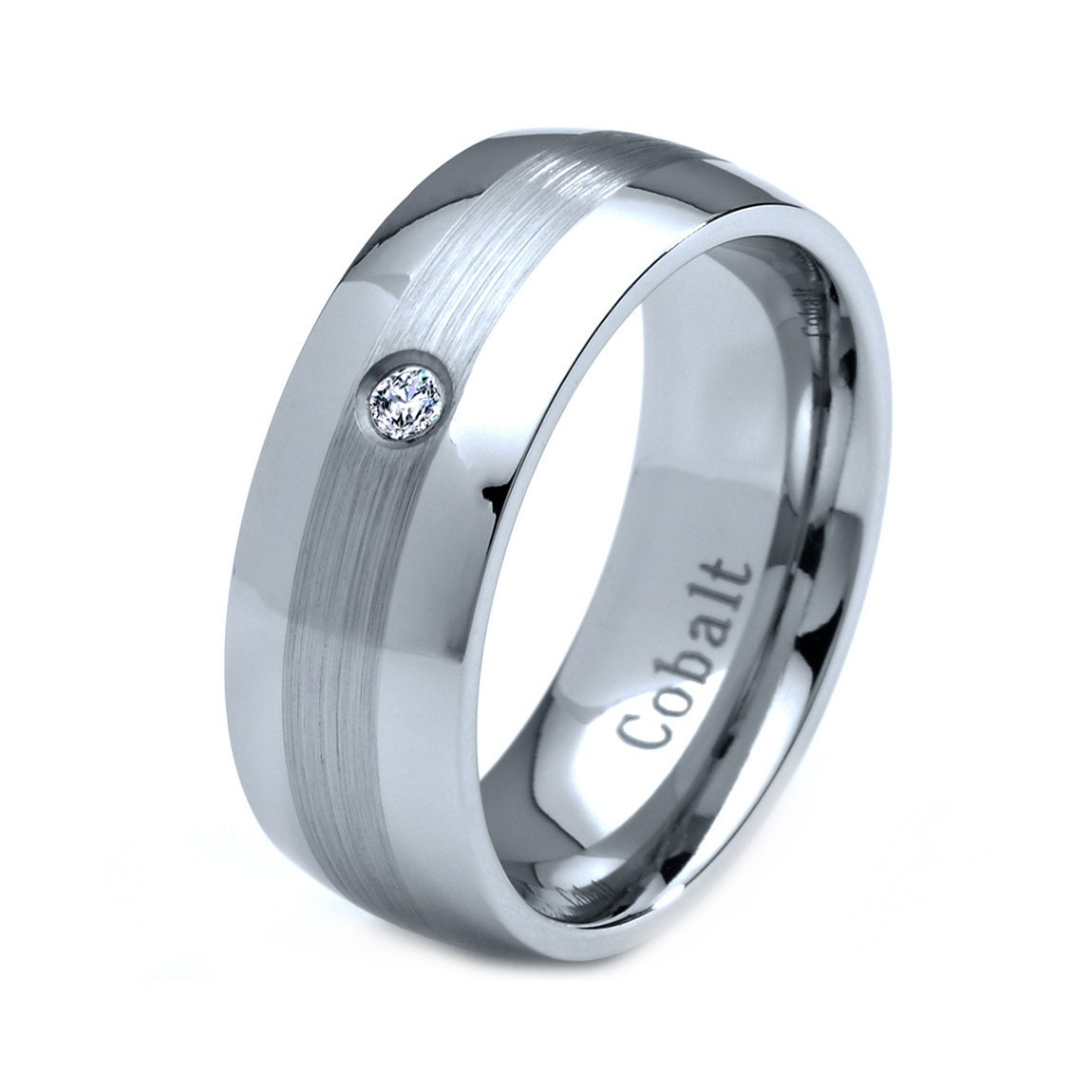 mens cobalt wedding band ring 8mm white by giftflavors