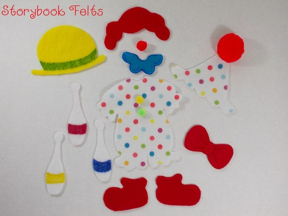 Storybook Felts Felt My Little Clown Doll Dress Up Set 13 PCS
