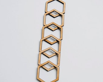 6 laser cut hexagon frames. Unfinished wood. Jewelry supply.