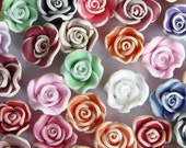 colorful multi color mixed fimo clay 10mm 3d flower beads 55 pieces No85