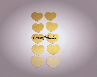 3/4 brass hearts - Brass Fancy Hearts - Premium brass-  Swirly heart blanks - tumbled blanks//  Premium Hearts 5 or more