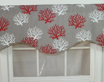 Coral shaped valance in red and orange