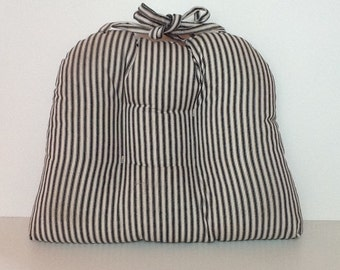 Ticking stripe chair pad in navy , red or black