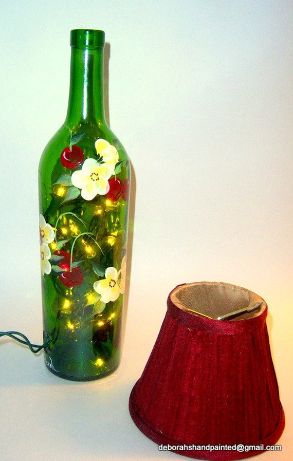 Items similar to wine bottle lamp hand painted cherries for Painting flowers on wine bottles