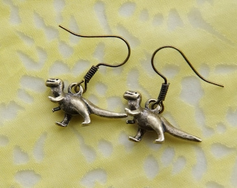 Dinosaur Earrings: Land of the Lost Brass Dangle Dino Earrings