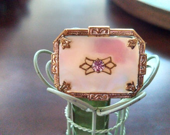 Incredible Antique Mother of Pearl Vermeil Brooch