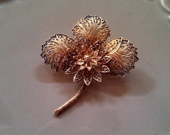 Delicate Antique Sterling Silver with Vermeil Filigree Flower Brooch/Pin