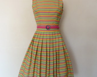 Muiti Coloured Striped Swing Dress
