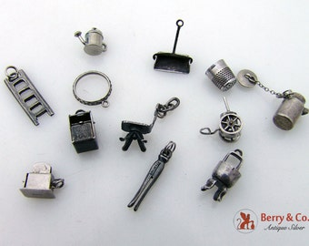 12 Vintage Sterling Silver Charms 1930s