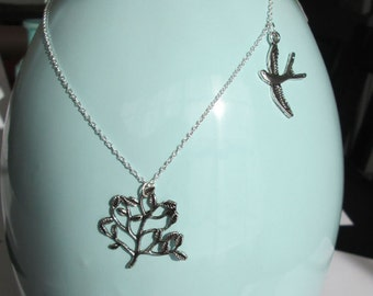 Sterling Silver Tree with Bird Necklace by The Darling Duck