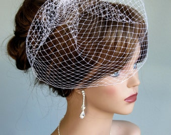 White(Black,Ivory,Hot Pink, Purple) Wedding  Bridal Birdcage Veil  Fascinator  Wedding Accessory Vail Comb