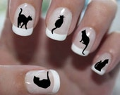 56 BLACK CATS Nail Decals (BC1) Cat Nail Art Tiny Cat Nail Decals, Cat Lover's Gift, Black Cat nail stickers Quality Nail Art Stickers