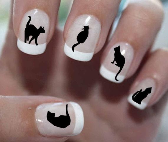 56 BLACK CATS Nail Decals BC1 Cat Nail Art Tiny Cat Nail