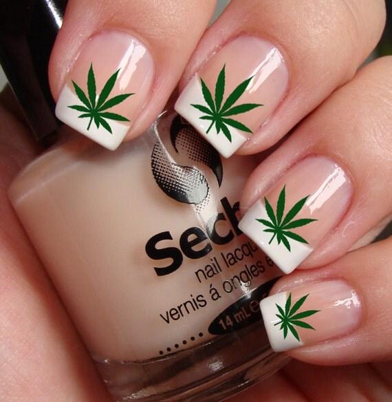 Free Shipping POT LEAVES Marijuana Nail Art PTG Waterslide - 35 Beautiful Nail Designs For Fall Pretty Designs - Nail Art