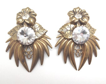 Vintage 1970s-80s Gold and Rhinestone Earrings - GLAM - To Wear or Repurpose TREASURY ITEM