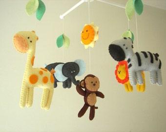 "Baby mobile, safari mobile, animal mobile, felt mobile, crib mobile ""Let's go to the Zoo 2"" - Elephant, Lion, Giraffe, Zebra, Monkey"