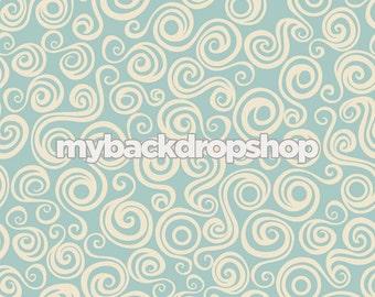 4ft x 4ft Blue and White Swirl Studio Backdrop - Light Blue Vinyl or Poly Backdrop - Item 286