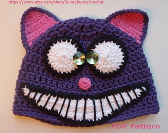 ANIMAL HAT PATTERN, Cat Crochet Hat, Halloween hat, Tuque, Beanie, Cheshire Cat, Alice in Wonderland, Cat Hat, fall, winter, children, baby