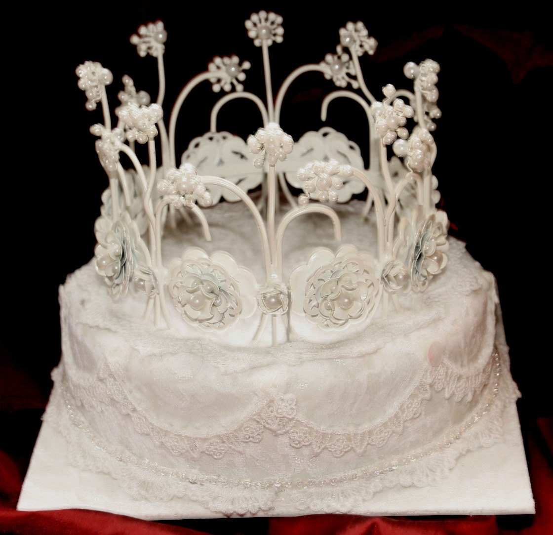 WeDDING CAKE TOPPER Lace Covered Flowers and by MaryMarryMe