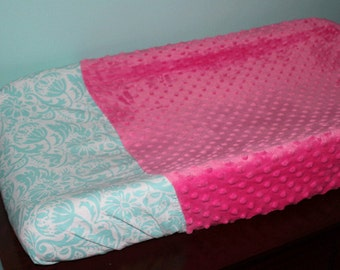 Pink and Teal Changing Pad Cover
