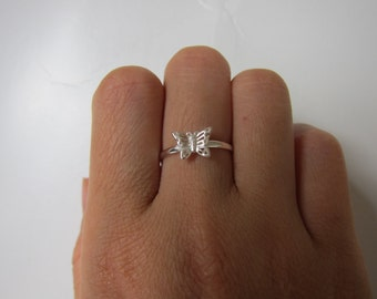 Tiny Sterling Silver Butterfly Ring, Stacking Ring, Birthday Gift