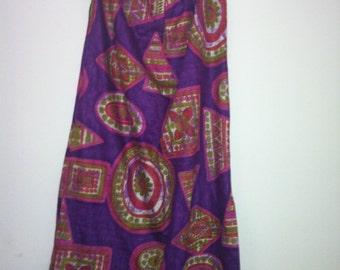 Vintage 70s  maxi skirt with front slit med- large