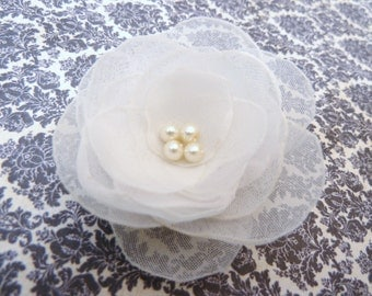 Delicate White Chiffon or Ivory Bridal Hair Flower, Wedding Hair Accessory, Floral Bobby Pin, Dainty and Sweet