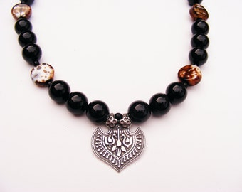 Onyx with Swan Medallion Necklace